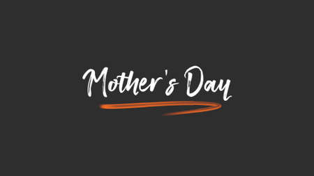 Text Mothers Day on black fashion and minimalism background. Elegant and luxury style 3d illustration for holiday and promo template