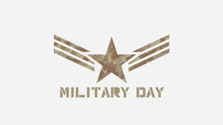 Text Military Day on military background with star and lines. Elegant and luxury 3d illustration for military and warfare template Zdjęcie Seryjne