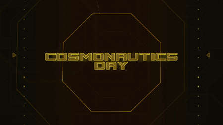 Closeup Cosmonautics Day text on neon futuristic screen with abstract shapes, abstract background. Elegant and luxury 3D illustration style for cosmos and sci-fi theme Zdjęcie Seryjne