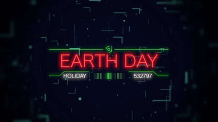 Closeup Earth Day text on neon futuristic screen with abstract shapes, abstract background. Elegant and luxury 3D illustration style for cosmos and sci-fi theme