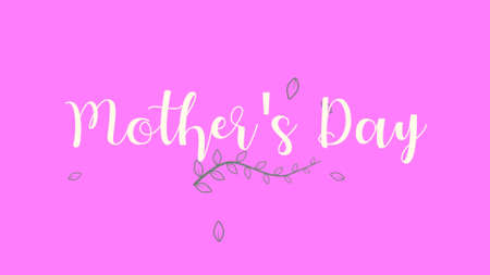 Text Mothers Day on pink fashion and minimalism background with flowers. Elegant and luxury style 3d illustration for holiday and promo template Zdjęcie Seryjne