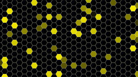 Motion yellow and black pixel pattern, abstract background. Elegant and luxury dynamic geometric style for business, 3D illustration