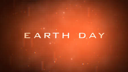 Closeup Earth Day text with neon futuristic shapes, abstract background. Elegant and luxury 3D illustration style for cosmos and sci-fi theme