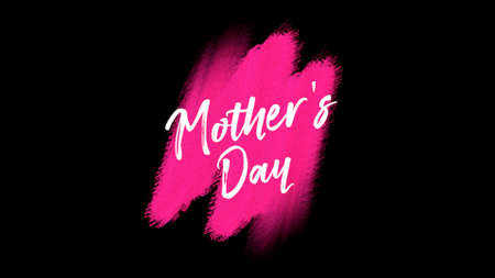 Animation text Mother Day on red fashion and brush background. Elegant and luxury style 3d illustration for holiday and promo template