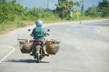 Farmer ride a bike. photo