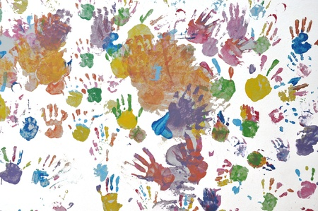 Kid hands print on the wall Stock Photo