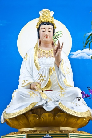 goddess of mercy: Quan Yin statue  Stock Photo