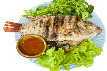 Grilled Tubtim fish isolated  photo