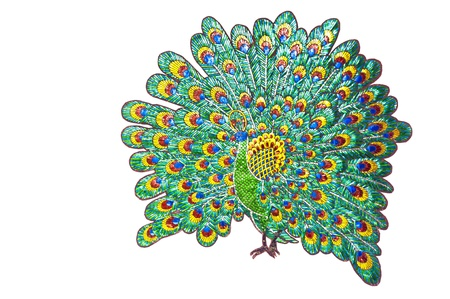 Stained-glass peacock isolated  photo