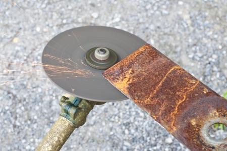 Lawn mower blade sharpening  Stock Photo