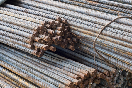 reinforcing bar: Rusty steel bars