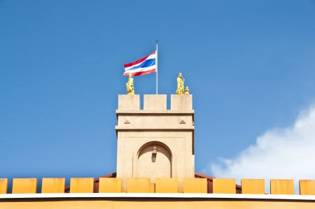 Thai flag on tower and wall  Stock Photo - 15936244