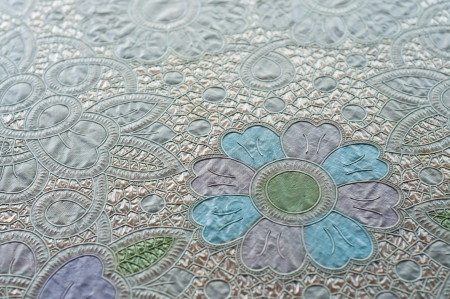 Flower pattern plastic tablecloth  photo