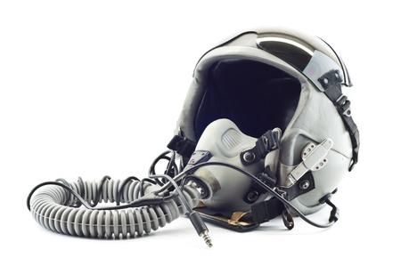 pilotos aviadores: Vuelo casco con m�scara de ox�geno Foto de archivo
