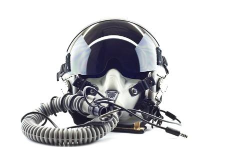 piloto: Vuelo casco con m�scara de ox�geno Foto de archivo