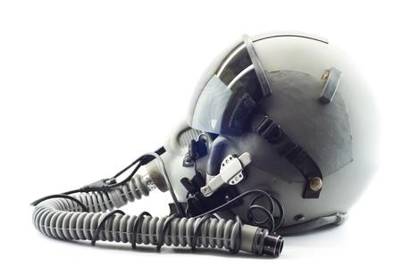 piloto de avion: Vuelo casco con m�scara de ox�geno Foto de archivo