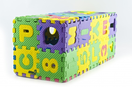 Rubber jigsaw puzzle box isolated  photo