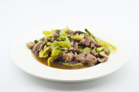 Stir fried pork with green chili pepper  Stock Photo
