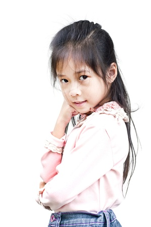 Little asian girl posing isolated  photo