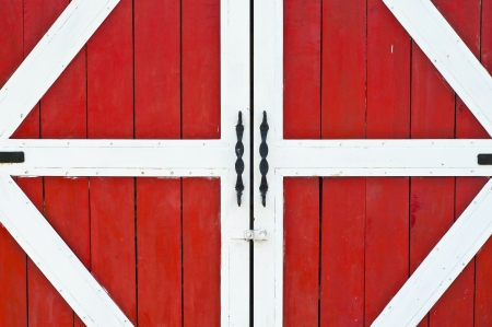 Red farm door Stock Photo - 18448493
