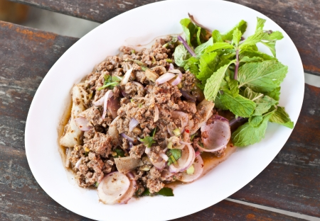 Thai cuisine spicy mince beef salad  photo