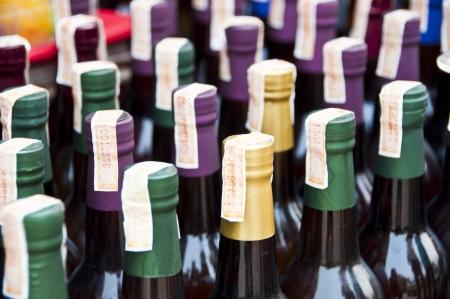 wine colour: Wine bottles  Stock Photo