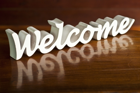 White woodcraft welcome word Stock Photo - 19241562