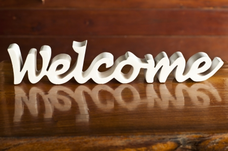 White woodcraft welcome word  Stock Photo