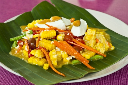 Thai style spicy corn salad with salty egg  Stock Photo - 19461274