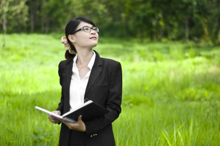 Beautiful Asian business woman, real estate investment