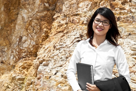 stratigraphy: Beautiful Asian geologist woman researching in stratigraphy  Stock Photo