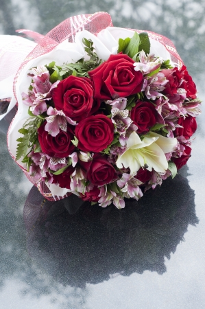 Flower bouquet on marble table  Stock Photo