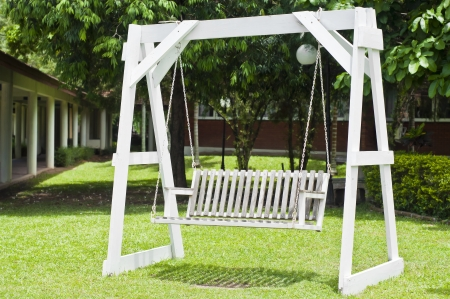 garden furniture: White wooden swing