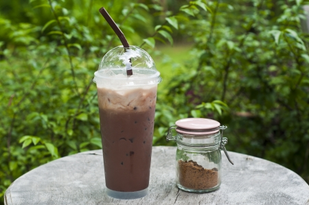 Iced chocolate with pot of brown sugar  Stock Photo