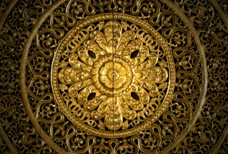 Thai art woodcraft with gold paint Stock Photo - 22669428