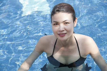 Beautiful Asian woman in swimming pool  photo