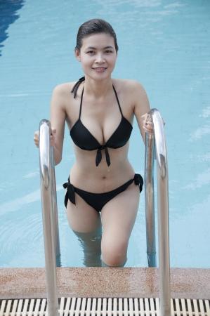 Beautiful Asian woman in swimming pool  photo