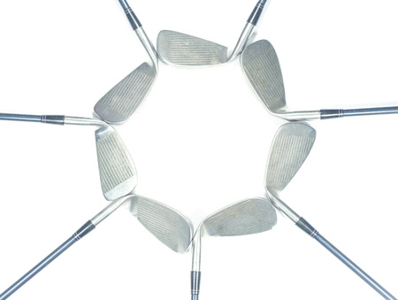 Set of iron golf club isolated