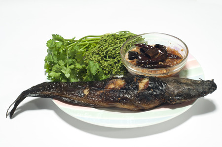 Grilled catfish and tamarind sauce and neem