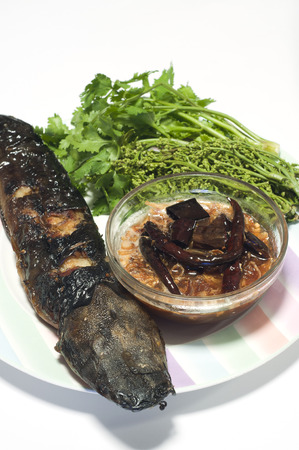 Grilled catfish and tamarind sauce and neem  photo