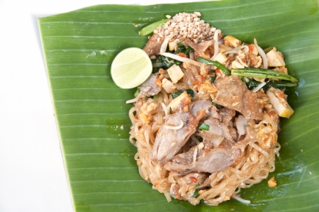 Stir-fried noodle  Pad Thai  with roast duck  photo