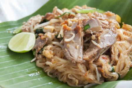 Stir-fried noodle  Pad Thai  with roast duck  Stock Photo