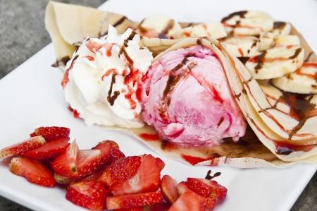 Strawberry banana crape  photo