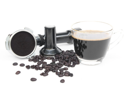 bottomless: Hot coffee, beans and coffee making equipment isolated