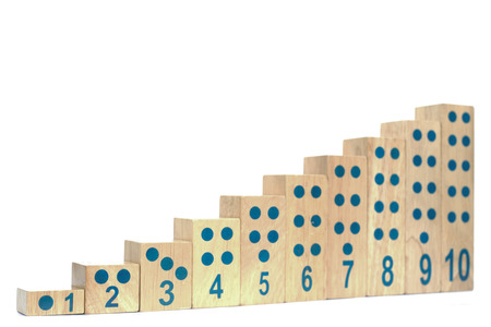 Wooden blocks with number isolated  photo