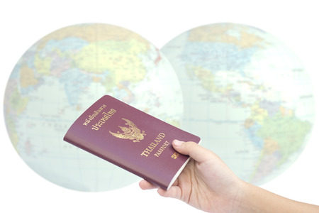 Little hand hold passport, travel concept