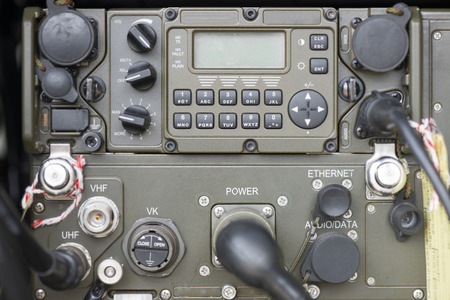 Military communication control panel. Stock Photo