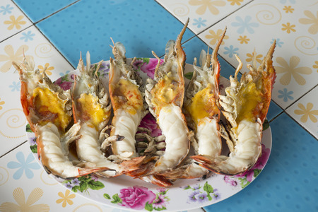 Grilled giant river prawn on dish.