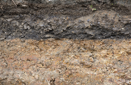 Cross section of underground soil layers. Stock Photo - 58444610