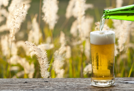Enjoy beer with grass flower meadow landscape in sunset .